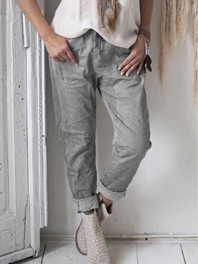 Women Vintage Pockets Solid Pants