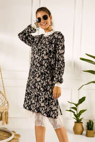 Fashion Drape Print Lace Long sleeve Skater Dresses