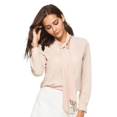 Fashion Loose Lapel Lacing Long sleeve Blouses