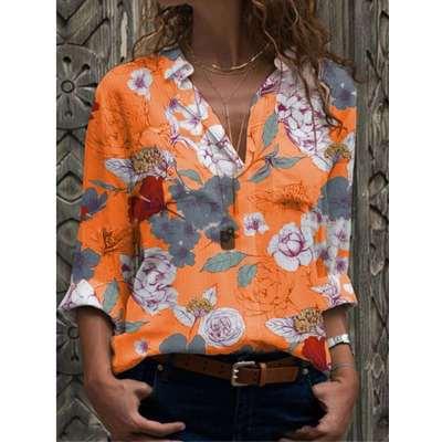 Fashion Print V neck Long sleeve Blouses
