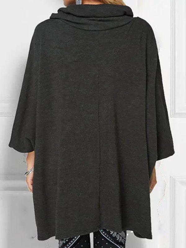 Casual Solid Cowl Neck Cotton-Blend Shirts