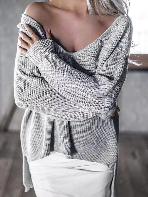Sexy V-Neck Shoulder Out Irregular Sweater