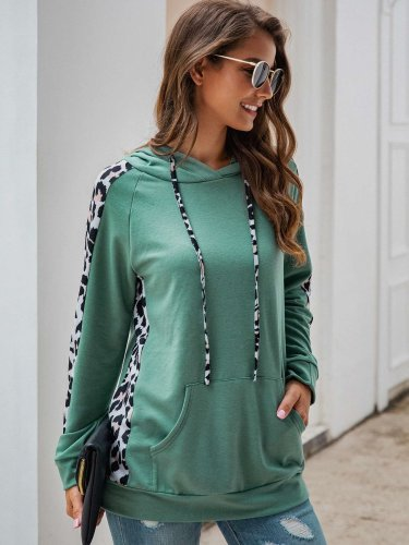 Sexy Leopard print Gored Pocket Hoodies Sweatshirts