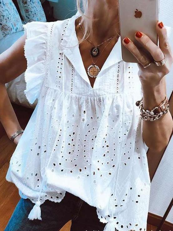 Casual Lace Hollow Falbala V neck T-Shirts