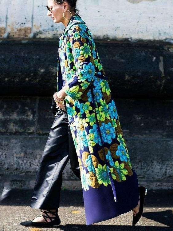 Fashion Print Retro Long Coats