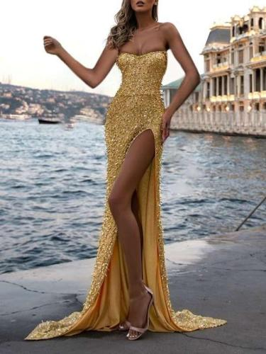 Sexy One shoulder Paillette Evening Dresses