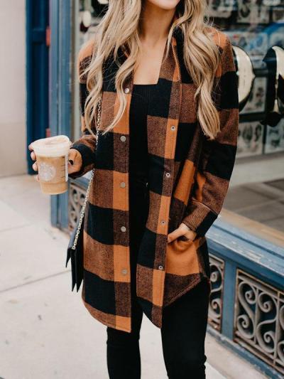 Stylish grid printed women coats