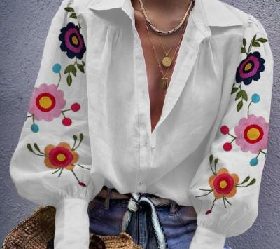Loose Casual Print Long sleeve  Blouses