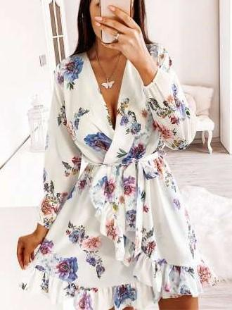 Fashion Print V neck Long sleeve Falbala Skater Dresses