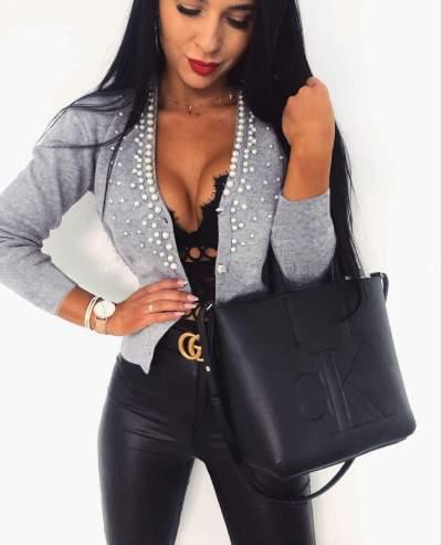 Fashion Pure Beading V neck Long sleeve Cardigan
