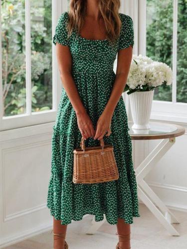 Fashion flower printed square neck short sleeve women maxi dresses