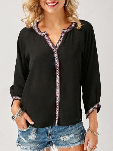 Fashion V-Neck  Embroidery  Stitching Long Sleeve Blouses