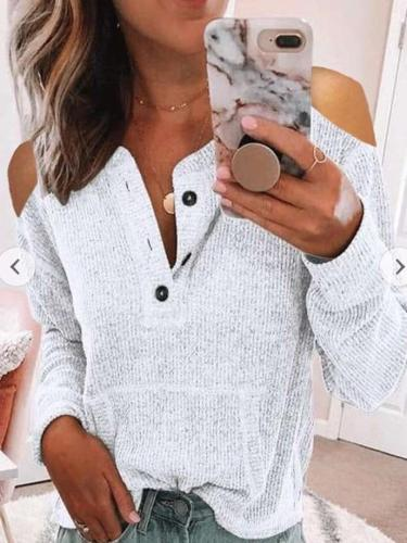 Pure Off shoulder Fastener Long sleeve T-Shirts