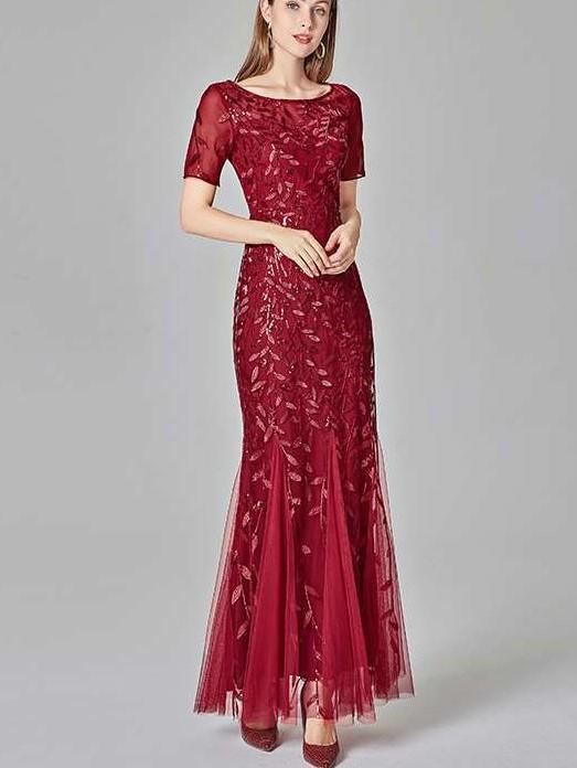 Fashion Sexy Round neck Short sleeve Fishtail Evening Dresses