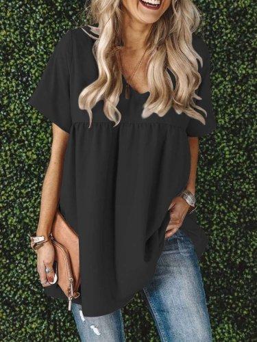 Loose Casual V neck Short sleeve Pure Shift Dresses