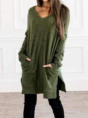 Plain v neck long sleeve with pocket Shift dresses