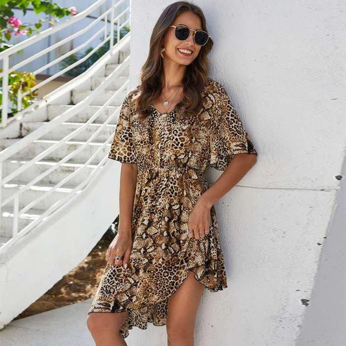 Irregular Leopard print Short sleeve V neck Shift Dresses
