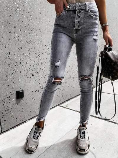 Stylish holes high waist for women long pants jeans