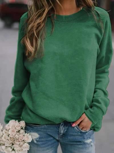 Fashion Long sleeve Round neck Pure T-Shirts