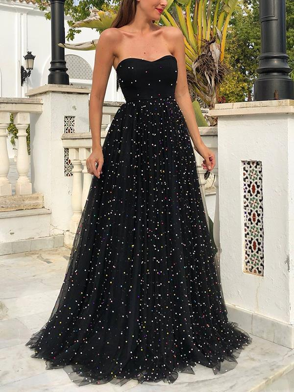 Elegant fashion women black lace long evening dresses