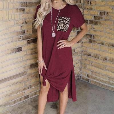 Casual Round neck Short sleeve Gored Pocket Vent Maxi Dresses