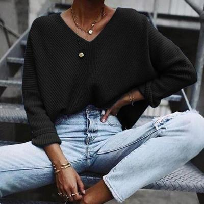Loose v-neck plain long sleeve sweaters