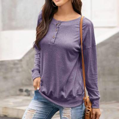 Fashion Casual Pure Round neck Long sleeve T-Shirts