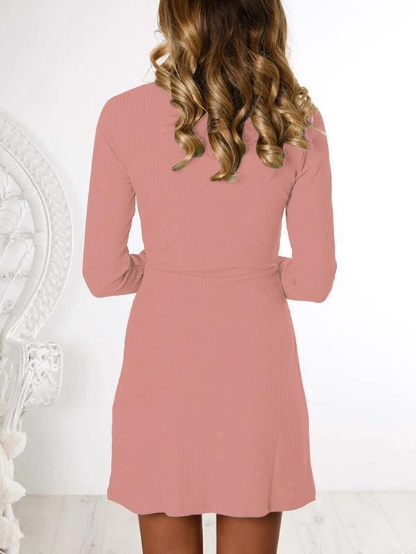 Fashion button round neck long sleeve plain shift dresses