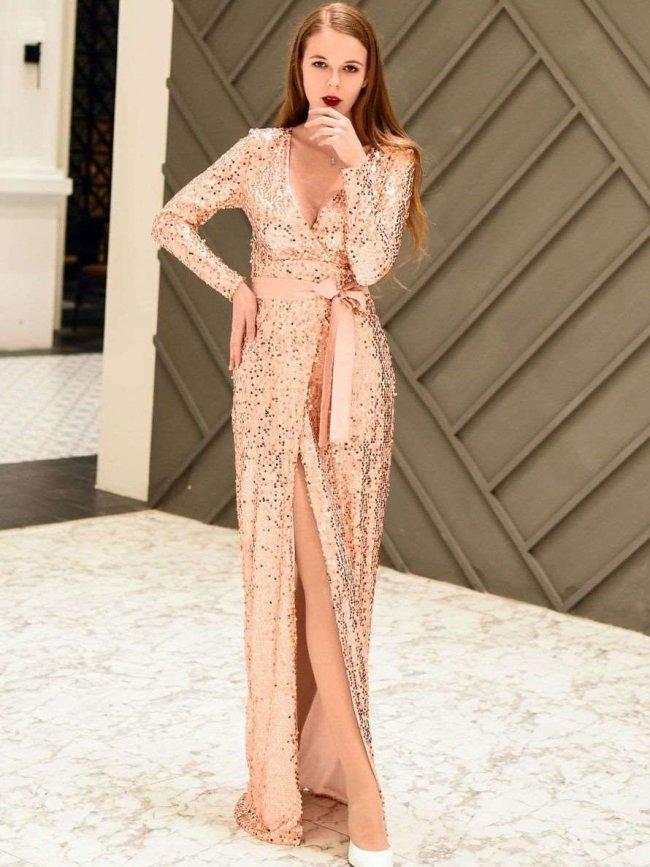 Sexy V neck Lacing Paillette Evening Dresses