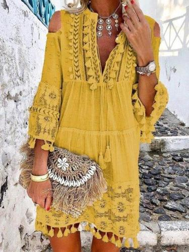 Fashion Women Off Shoulder V neck Tassel Decoration Shift Dresses