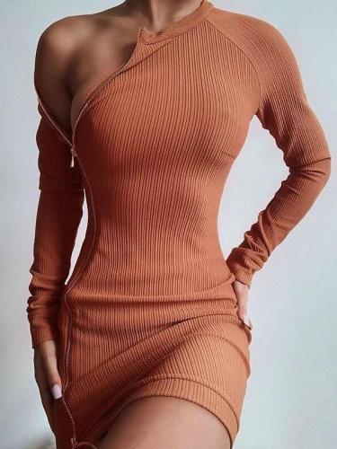 Pure Irregular Long sleeve Round neck Zipper Bodycon Dresses