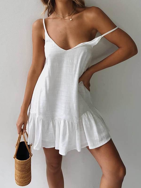 Women Chic Strap Plain Fashion Cotton Shift Mini Dresses