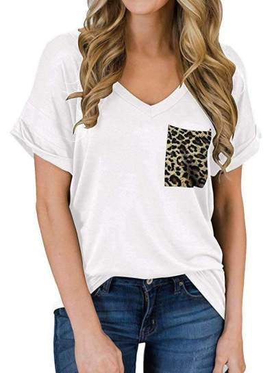 Fashion Leopard print Short sleeve V neck T-Shirts