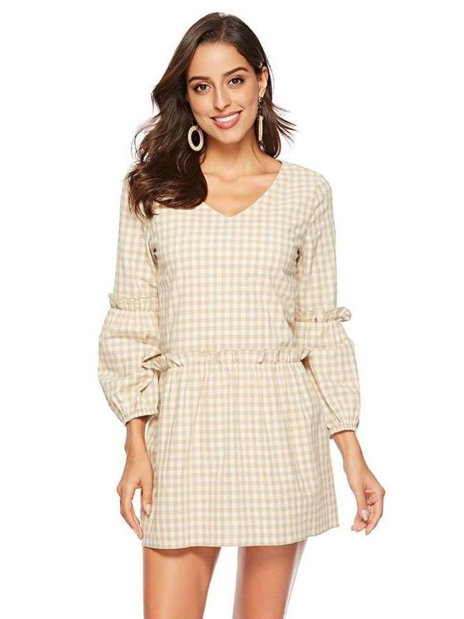 Fashion Plaid Long sleeve V neck  Falbala Shift Dresses