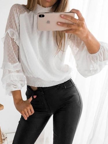 Fashion chiffon high neck women long sleeve sweet blouses