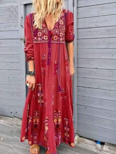 Fashion Print V neck Long sleeve Lacing Maxi Dresses