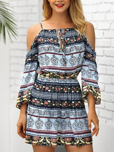 Fashion Vacation Floral Off shoulder Shift Dresses