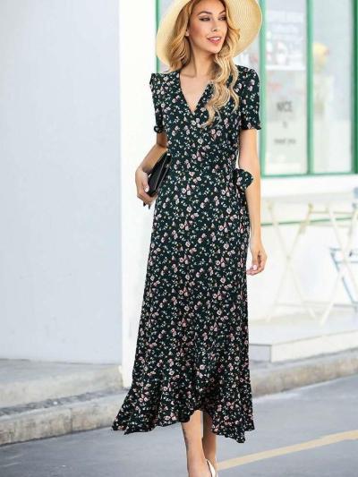 Fashion V neck Short sleeve Print Irregular  Falbala Maxi Dresses