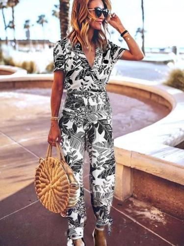 Fashion Print V neck Short sleeve Jumpsuits