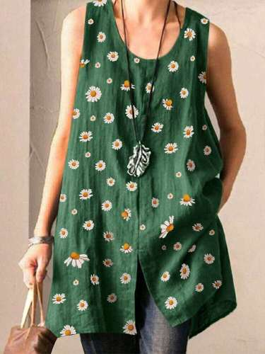 Casual Loose Round neck Print Vent Sleeveless Blouses