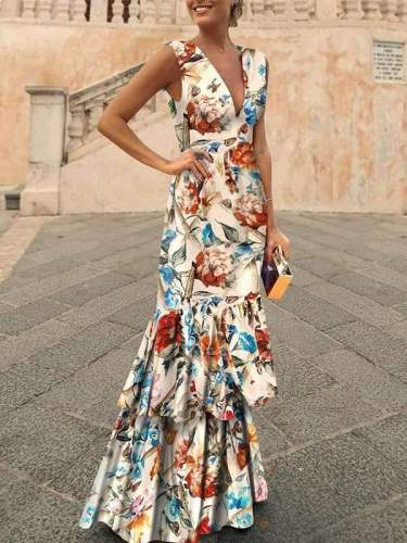 Chic V neck Bohemia Flower Printed Elegant Women Evening Dresses