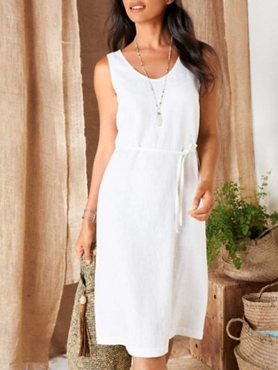 Casual Loose Pure Round neck Sleeveless Lacing Shift Dresses