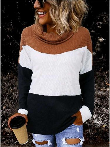 Fashion Gored High collar Long sleeve Sweaters