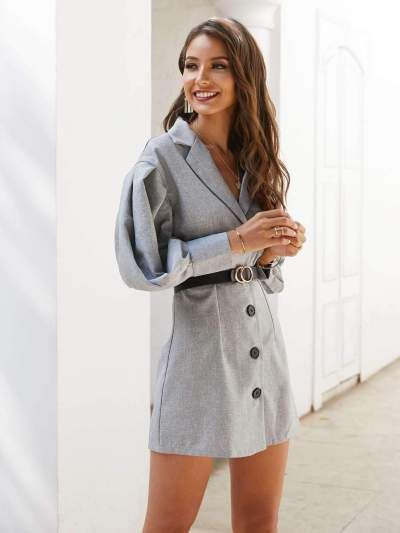 Pure Puff sleeve Lapel Belt Shift Dresses