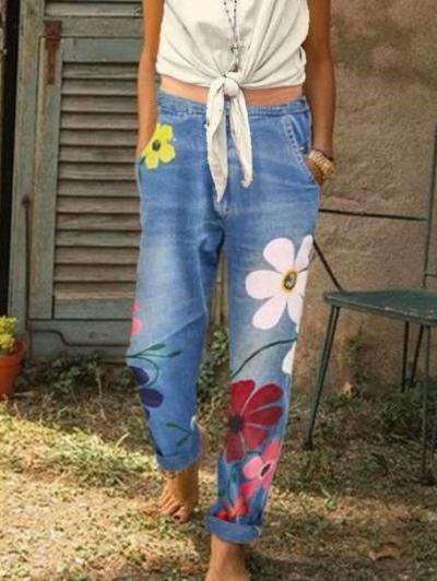 Loose Print Women Jeans Pants