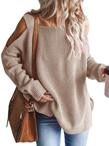 Fashion Casual Loose Pure Off shoulder Long sleeve Knit Sweaters