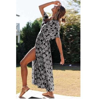 Fashion Print V neck Vent Short sleeve Skater Dresses
