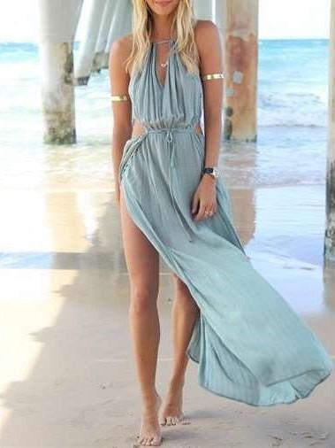 Fashion Pure V neck  Sleeveless Vacation Dresses