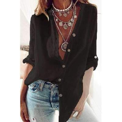 Fashion Casual Pure V neck Long sleeve Blouses