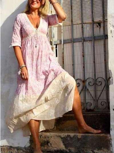 Fashion Casual Print V neck Half sleeve Maxi Dresses
